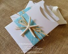 Hawaii Beach wedding invitation created as a pocket pouch to fit your printed…