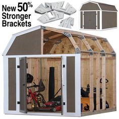 Only straight, 90 Degree cuts are required. No miters or complex measurements are needed. Galvanized angle brackets create the perfect angle every time. Storage Shed Kits, Building A Storage Shed, Tool Storage, Building Ideas, Diy Storage, Barn Style Shed, Shed Base, Large Sheds, Shed Design