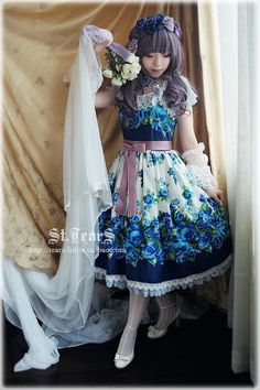 13Sum*云之花嫁:蓝蔷薇之誓*定位印花JSK连衣裙lolita[预约]-淘宝网