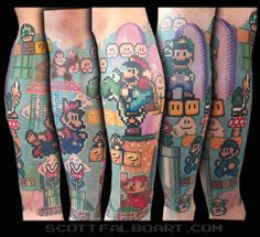 S mario tattoo sleeve tattoo ideas leg sleeve tattoo, Full Sleeve Tattoo Design, Leg Sleeve Tattoo, Best Sleeve Tattoos, Body Art Tattoos, Cool Tattoos, Tattoos Pics, Pretty Tattoos, Tattoo Art, Realism Tattoo