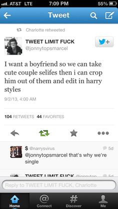 Or just I want Harry styles as my boyfriend so I don't have to crop and edit stuff