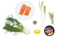 Pan-Seared Salmon with Fennel & Heirloom Potato Salad ingredients
