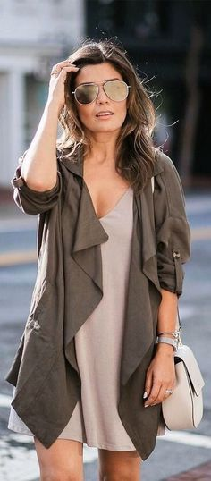 Casual-chic: nude dress and olive slouchy cardigan