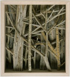 Eva Jospin has been dedicating herself for several years to the study of the landscape and its representation. More recently through a unique medium –cardboard. She sculpts large forest scenes. Eva was born in 1975, and lives and works in Paris.