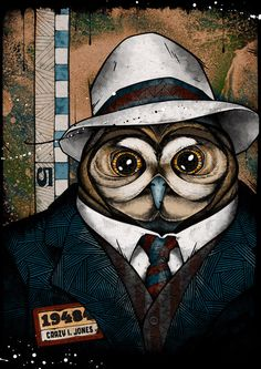 Business Owl is dapper. The Usual Suspects by Andreas Preis, another dope illustrator out of Berlin Art And Illustration, Graphic Design Illustration, Art Quotidien, Illustrator, Andreas, Owl Art, Spirit Animal, Painting & Drawing, Character Design