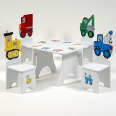 children's table and chair set Dining Room Table Chairs, Kids Table And Chairs, Table And Chair Sets, Painted Chairs, Painted Furniture, Childrens Desk And Chair, Dental Office Decor, Kid Desk, My Home Design