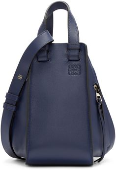 bf18f7d269ac Loewe: Navy Small Hammock Bag | SSENSE Calf Leather, Loewe, Sling Backpack,