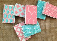 Set of 50 Matchboxes Aqua & Coral Collection by PerfectlyMatched, $49.00
