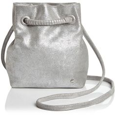 Halston Heritage Ali Drawstring Metallic Small Suede Crossbody ($325) ❤ liked on Polyvore featuring bags, handbags, shoulder bags, silver, white shoulder bag, metallic crossbody, cross-body handbag, metallic shoulder bag and suede crossbody