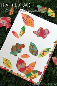 simple art activity for kids with beautiful results: make a leaf collage based on Eric Carle's painting collage technique