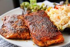 This blackened salmon dish is a mix of spices that give the black appearance yet packs a spicy taste.