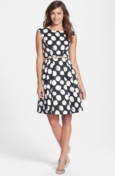Eliza J Polka Dot Faille Fit & Flare Dress (Regular & Petite) available at #Nordstrom
