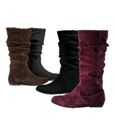 Cool-Weather Flats: Suede Slouch Boot by Colin Stuart, $59