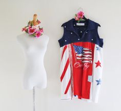 XL Patriotic American Flag patchwork dress Summer 2016 Outfit Upcycled clothing Red White Blue Lagenlook eco tunic Artsy Clothes Saidoniaeco