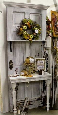 rustic painted table with old door made into shelf, shabby, cute