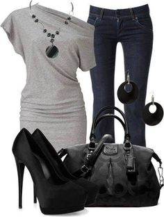 I LOVE this outfit!!!!... except I would like shoulders to be even......clothes. blue, black, gray