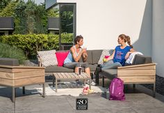 Moderne Cava Living loungeset met teak frame. www.4seasonsoutdoor.nl