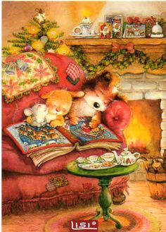 The night before Christmas Lisi Martin Christmas Scenes, Noel Christmas, All Things Christmas, Winter Christmas, Illustration Noel, Christmas Illustration, Vintage Christmas Images, Christmas Pictures, Images Noêl Vintages