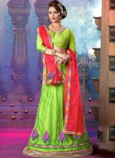 Precious Parrot Red Net Designer Lehenga Choli http://www.angelnx.com/