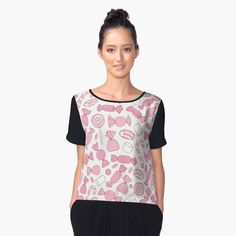 Pink Candies Pattern Women's Chiffon Top #valentine #pink #cute #pattern #ornament #candies #girlish #cane #marshmallows #sweet #treat #dessert #pastel #caramel #easter #gum #redbubble #shopping #buyonline #art #tops #clothing #wear #women #shirts