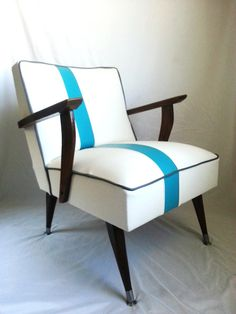 Mid Century Modern Chair White Vinyl with Blue Off-Center Stripe & Gray Welting