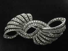 Vintage Marcasite Brooch Bow Design 1950s by LAmourDAntique, $30.00