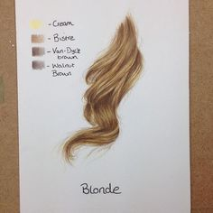 Blonde hair with colored pencils