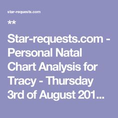 ** Star-requests.com - Personal Natal Chart Analysis for Tracy  - Thursday 3rd of August 2017 **