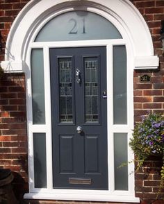 Arched anthracite grey installed in Arched Front Door, Front Door Porch, Black Front Doors, Porch Doors, Front Door Entrance, Arched Doors, House Front Door, Entry Doors, Entry Hallway