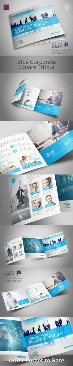 Blue Corporate Square Trifold Brochure Template #design Download: http://graphicriver.net/item/blue-corporate-square-trifold/12850480?ref=ksioks