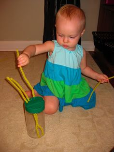 Teacher Turned Momma: Tot School: Yellow - Use a parmesan cheese container and pipe cleaners as a fine motor activity