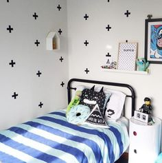 A cool boys bedroom featuring a black Sonata Bed. Styled by The Home Scene NZ.