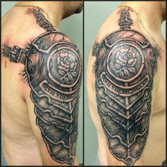 Armour Tattoo Cover up Tattoo Black and Grey