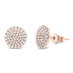 Pave Diamond Disc Earrings