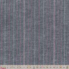 Chambray - Blue Pink Stripe - cotton fabric