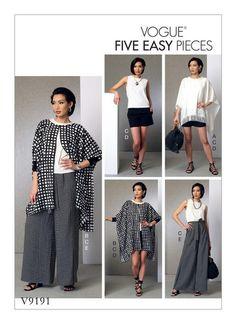 Easy Vogue Sewing Pattern: V9191 Misses' Ponchos, Top, Shorts & Wide Leg Wrap Pants … WeaverDee.com