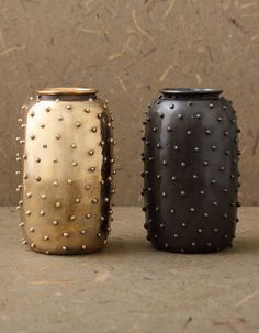 KELLY WEARSTLER | STUDDED VASE. Handsculpted in Los Angeles, this vase is available in gunmetal and burnished brass