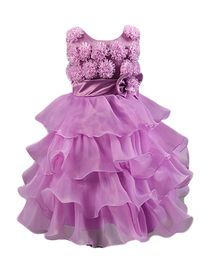 فستان رسمي بناتي نمط أزهار بلا اكمام مقوس بعدة طبقات متراكبة لون احمر ساده