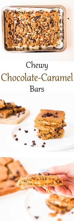 Delicious, gooey, Chewy Chocolate Caramel Bars. The most delicious chocolate chip cookie recipe filled with caramels. Quick and easy to make.