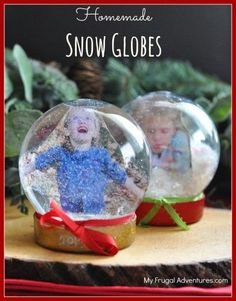How to make a snowglobe- so fun and so easy! Customize this with figurines, Christmas decorations or family photos!