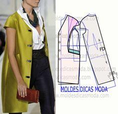 O grau de dificuldade deste molde casaco manga japonesa não é muito elevado. No blogue existem bases de casaco larga, semi-larga e justa em tamanhos vários.