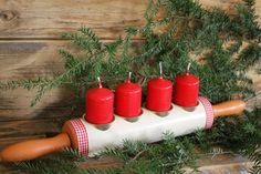 Adventskranz Weihnachtsdekoration zu Tilda Landhaus Upcycling Nudelholz UNIKAT