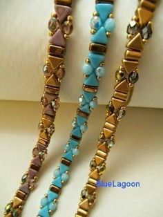 Bracelets with Triangle, Half-Tilas, and Fire-polished Rounds