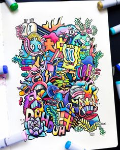 11 Doodle Drawings and 1 Painting Cute Doodle Art, Doodle Art Designs, Doodle Art Drawing, Cute Doodles, Art Drawings, Graffiti Doodles, Graffiti Drawing, Graffiti Lettering, Graffiti Art