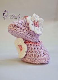 Plooshy Handmade: Stylish crochet cotton booties.''Lavender & Pink''