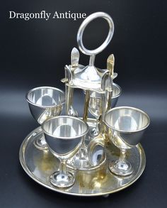 SUPERB Antique T.S Set of 4 Silver Plated Egg Cups Spoons on Original Stand