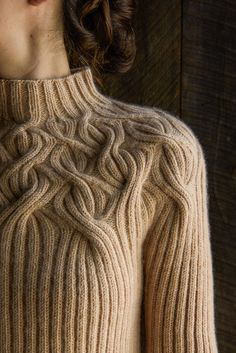 botanical yoke pullover - ribbed knitting pattern from Purl Soho Cable Knitting, Vogue Knitting, Knitting Stitches, Knitting Designs, Free Knitting, Knitting Projects, Knitting Sweaters, Knitting Needles, Purl Soho