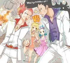 """""""Dance dance"""" by Rboz (Nalu & Gajevy) They look so weird, Natsu and Gajeel. Fairy Tail Nalu, Fairy Tail Ships, Fairytail, Jerza, Fairy Tail Couples, Gajeel Y Levy, We Heart It, Natsu Y Lucy, Gajevy"""