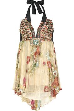 Delicate flowy summer dress/top by One Vintage - I love the mix of patterns and textures.