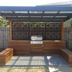 Outdoor BBQ entertaining area, Built in BBQ. Melbourne summer nights are the perfect time for entertaining and why not do it with style. Outdoor Areas, Outdoor Rooms, Outdoor Living, Outdoor Kitchens, Outdoor Fire, Barbacoa Jardin, Outdoor Screens, Pergola Screens, Timber Pergola